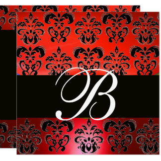 ELEGANT RED BLACK DAMASK WEDDING MONOGRAM INVITES