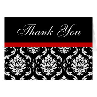 Elegant Red Black Damask Wedding Thank You Notes Stationery Note Card