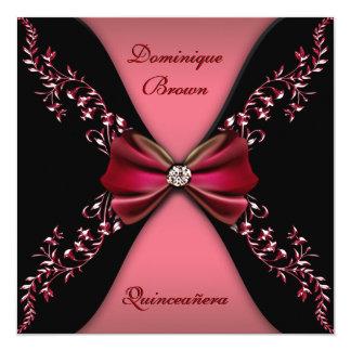 Elegant Red Black Diamond Bow Quinceanera Card