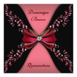 Elegant Red Black Diamond Bow Quinceanera Personalized Invitation