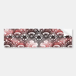 Elegant Red Black Distressed Lace Damask Pattern Bumper Sticker