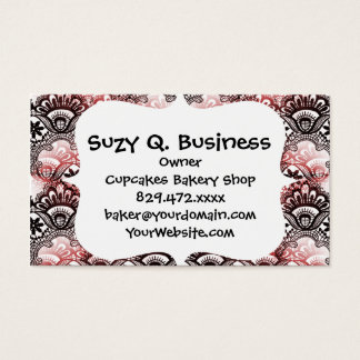 Elegant Red Black Distressed Lace Damask Pattern Business Card