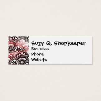 Elegant Red Black Distressed Lace Damask Pattern Mini Business Card