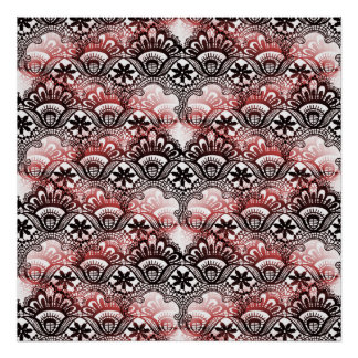 Elegant Red Black Distressed Lace Damask Pattern Poster