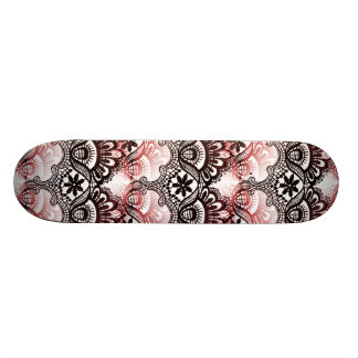 Elegant Red Black Distressed Lace Damask Pattern Skateboard