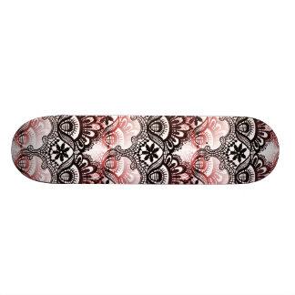 Elegant Red Black Distressed Lace Damask Pattern Custom Skateboard