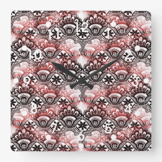 Elegant Red Black Distressed Lace Damask Pattern Square Wall Clock