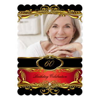 Elegant Red Black Gold 60th Birthday Party Card