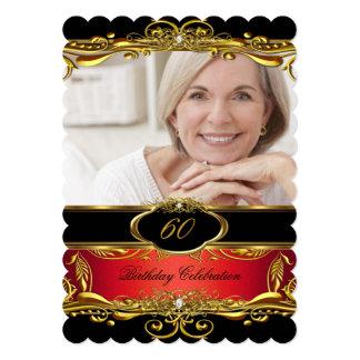 "Elegant Red Black Gold 60th Birthday Party 5"" X 7"" Invitation Card"