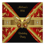Elegant Red Black Gold Butterfly Image Party Personalized Announcements