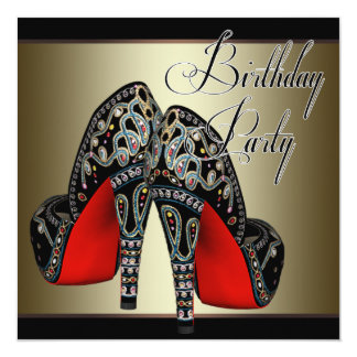 Elegant Red Black Gold High Heels Birthday Party Card