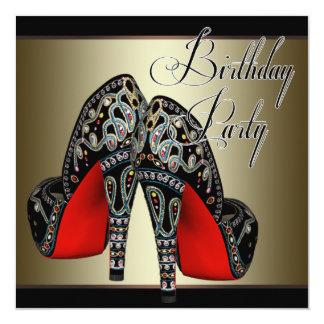 Elegant Red Black Gold High Heels Birthday Party 5.25x5.25 Square Paper Invitation Card