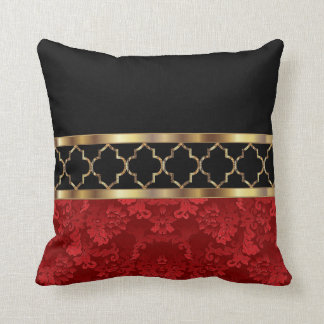 elegant red black gold quatrefoil pattern throw pillow - Gold Decorative Pillows