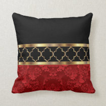 Elegant Red, Black & Gold Quatrefoil Pattern Throw Pillow