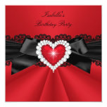 Elegant Red Black Heart Birthday Party Custom Announcements