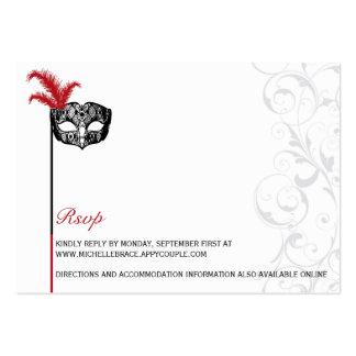 Elegant Red Black Masquerade RSVP Large Business Card