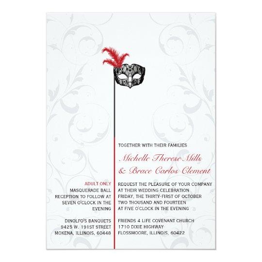 Elegant Red Black Masquerade Wedding Invitations