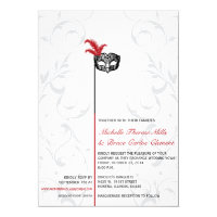 Elegant Red Black Masquerade Wedding Invitations