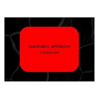 Elegant Red Black Stone Minimalist Professional Large Business Card