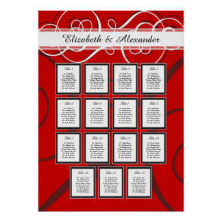 Elegant Red Black Wedding 15 Table Seating Chart Poster