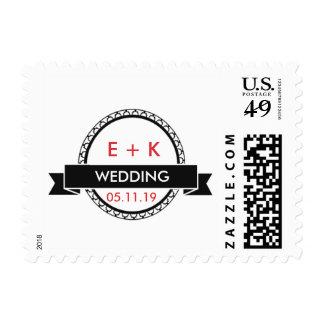Elegant Red-Black Wedding Postage Stamp