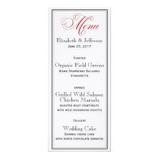 Elegant Red Black & White Script Wedding Menu Card