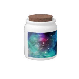 Elegant Red Blue Watercolor Nebula Aquarius Candy Jars