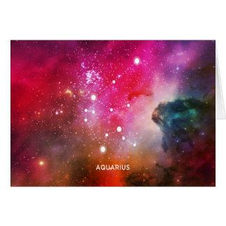Elegant Red Blue Watercolor Nebula Aquarius Card