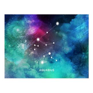 Elegant Red Blue Watercolor Nebula Aquarius Postcard