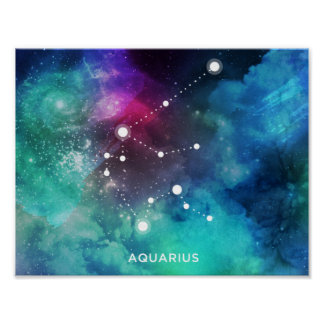 Elegant Red Blue Watercolor Nebula Aquarius Poster