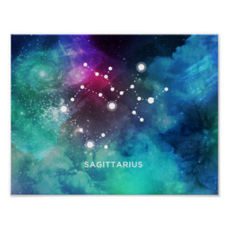 Elegant Red Blue Watercolor Nebula Sagittarius Poster