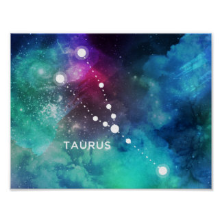 Elegant Red Blue Watercolor Nebula Taurus Poster