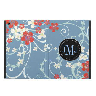 Elegant Red Blue White Vintage Floral Monogram Cover For iPad Air