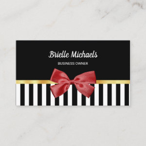 Elegant Red Bow Black and White Stripes With Gold Business Card