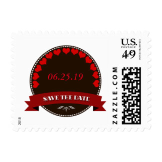 Elegant Red-Brown Save the Date Postage