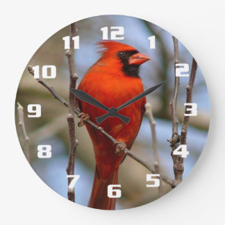 Elegant Red Cardinal Large Clock