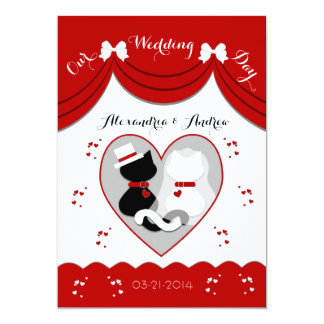Elegant Red Cat Wedding Couple Invitations