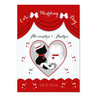 Elegant Red Cat Wedding Couple Invitations