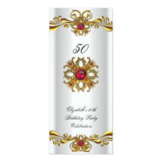 "Elegant Red Cherry Jewel White Gold Birthday Party 4"" X 9.25"" Invitation Card"