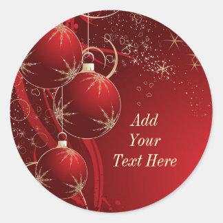 Elegant Red Christmas Classic Round Sticker