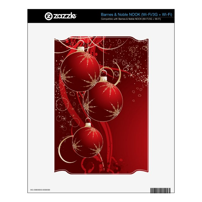 Elegant Red Christmas Decal For NOOK