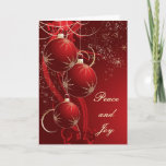 "Elegant Red Christmas Holiday Card<br><div class=""desc"">Decorative Christmas ornaments wit lace and stary flair.</div>"