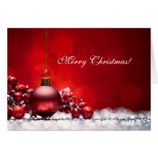 Elegant Red Christmas Ornament Greeting Card