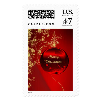 Elegant Red Christmas Ornament Postage