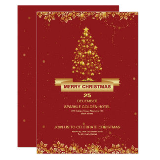 Elegant Red Christmas Party Flyer Card