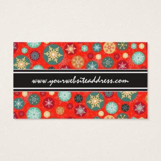 Elegant Red Christmas Snowflake Retro Pattern Business Card