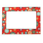 Elegant Red Christmas Snowflake Retro Pattern Magnetic Frames