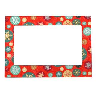Elegant Red Christmas Snowflake Retro Pattern Magnetic Frame