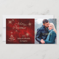 Elegant Red Christmas Tree Holiday Card