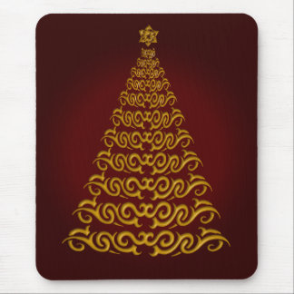 Elegant Red Christmas Tree Mouse Pad